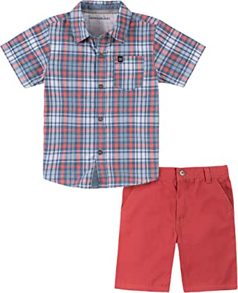 Calvin Klein 幼儿男孩衬衫短裤套装,2件
