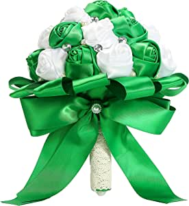 PYJTRL 多色水晶珍珠婚礼新娘伴娘丝带饰花 绿色 + 白色