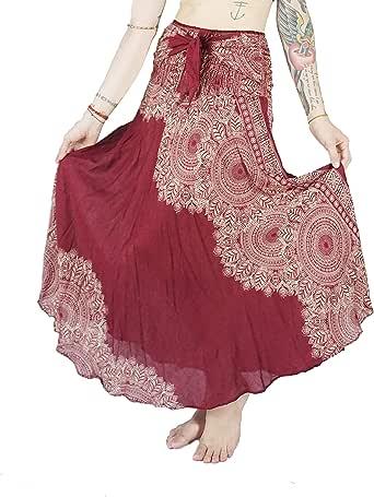 Boho Vib 女士长款波西米亚夏季裙子连衣裙带内衬(叶子 1 酒红色,S/M)