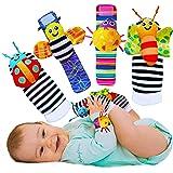 Foot Finders & 手腕摇铃婴儿*式纹理玩具婴儿和婴儿玩具袜和婴儿手腕拨浪鼓 - 女婴和男孩新生儿玩具。 男宝宝女孩玩具 0-3 3-6 & 6 至 12 个月
