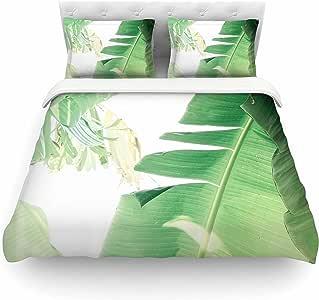 "KESS InHouse 被套 Ann Barnes ""香蕉叶 I""绿色白色羽毛重量羽绒被套 88"" X 88"" AB2051ACD02"