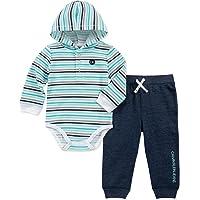 Calvin Klein 婴儿男孩 2 件连体衣长裤套装  White/Mint/Peacoat 6 - 9 Months