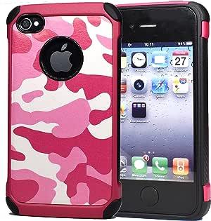 fdtcyds iphone 4S 保护套带屏幕保护膜, [ fdtcyds 轻薄系列 ] 适用于 Apple iphone 4S Camo Pink