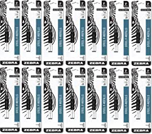 Zebra F301,F301 Ultra,F402,301A,螺旋圆珠笔笔芯,0.7 毫米,细笔尖,黑色墨水,2 支装