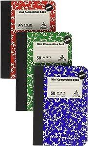 迷你组合书籍,便签,3 件装,3 种不同颜色,红色,*和蓝色 原版