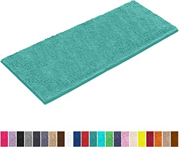 LuxUrux Chenille 浴室地毯(119.38 厘米 x 68.58 厘米),超柔软吸水性大地毯,完美的毛绒地毯垫浴房,可机洗/干燥(深灰色)