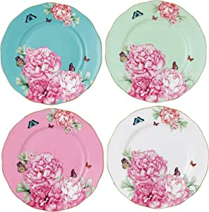 Royal Albert 珍藏盘子,祝福,快乐,感恩和奉献,米兰达克尔设计,9.9厘米,4件装