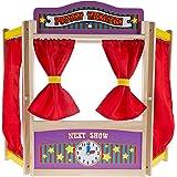 Hey!Play! 木质桌面小狗影院带窗帘、黑板和时钟- 激发孩子、男孩和女孩的想象力和创造力