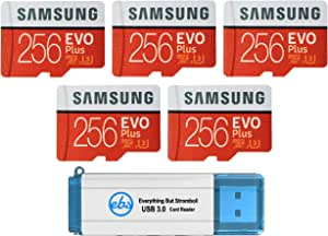 Samsung 三星 256GB Evo Plus MicroSD卡(5件装)Class 10 SDXC存储卡带适配器(MB-MC256G)套装带(1)Everything But Stromboli 3.0读卡器带SD和微型(TF)插槽