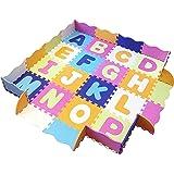 婴儿玩具垫,带围栏、泡沫字母和瓷砖 - 儿童、幼儿和婴儿的游戏垫。 俯卧时间和活动健身房地板游戏笔。 142.24 cm x 142.24 cm,约 187.42 cm 宽!