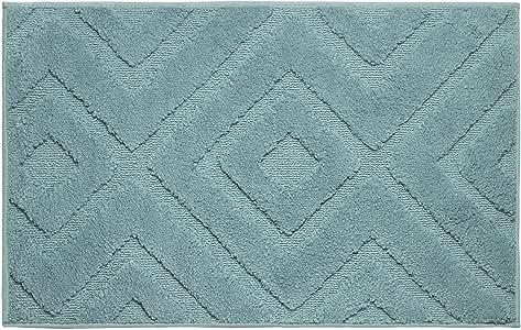 Jean Pierre Lilah 毛绒超细涤纶织纹浴垫套装,21 x 34 英寸(约 53.34 x 86.4 厘米),(2 件套) 北极蓝 21x34 YMB004079