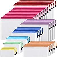 EOOUT 30 个网眼拉链袋文件袋,8 种不同尺寸,防水塑料拉链文件夹,多功能办公用品,家居和旅行存储配件