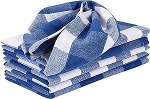 Linen Clubs 6 件装棉质格子餐巾 *蓝/白色 6 件套 48519