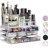 Relaxdays 化妆收纳盒 带4个抽屉,口红笔支架和化妆盒,丙烯酸化妆套装,不同 颜色
