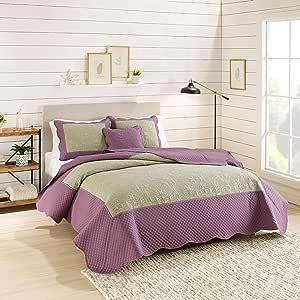 Nestl Bedding 4 件套超细纤维棉被套装,带枕套 Damask - Olive/Purple Queen