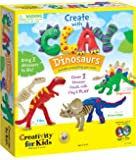 Creativity for Kids 用粘土恐龙创造-用模型粘土构建 3 个恐龙公仔