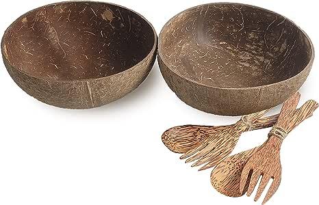 cocoboo 抛光椰子外壳碗工匠手工沙拉 smoothies 食品 servings 天然 Set 2 Natural Bowls 2 Spoons 2 Folks