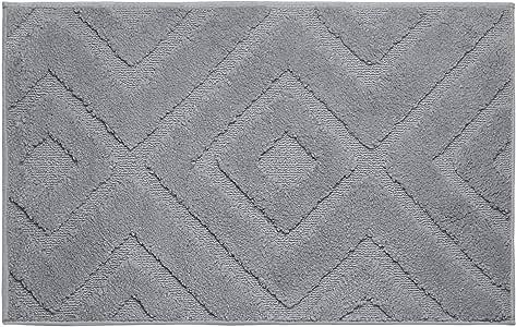 "Jean Pierre Lilah Plush Micropolyester Textured Bath Mat, 21 x 34"", Wild Grey"