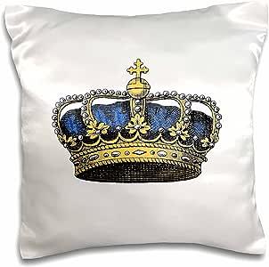 inspirationzstore 古典艺术–*蓝针宽1.27cm–复古艺术–宝蓝色–皇室–金色 KINGS 或 princes 皇冠带珍珠和十字架–枕套