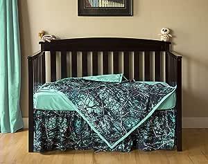 Carstens Muddy Girl Serenity Camo 婴儿床床单 3 件套,蓝绿色