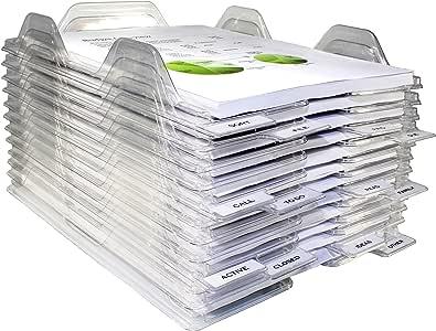 EZSTAX 文件收纳器 - 信纸尺寸,可堆叠桌托 - 适用于办公文件、邮件、文档 48 Pack 透明