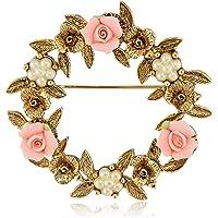 1928 珠宝陶瓷玫瑰花花环胸针