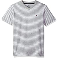 Tommy Hilfiger 男童短袖 V 领条纹 T 恤  Todd 灰色 4