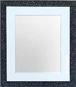 FRAMES BY POST Glitz 木炭相框带白色、黑色、象牙色、蓝色、粉色、浅灰色和深灰色支架 Blue Mount 8 x 8 Image Size 5 x 5 Inch GLITZCHARCOALWITHBLUEMT8855