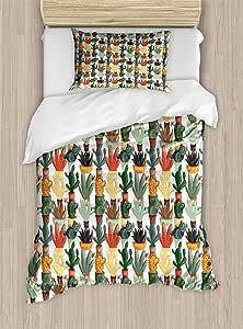 Ambesonne 香蕉叶羽绒被套装,由手工绘制风格植物性图案热带折叠绿色和蓝色,装饰床上用品套装带枕套,绿色 蓝色