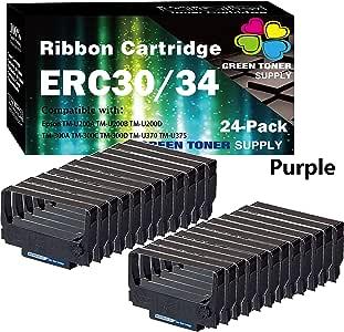 GTS 兼容色带替换 EPSON ERC30/34/38 色带盒 适用于 ERC-30 ERC-34 ERC-38(24 件装,紫色)