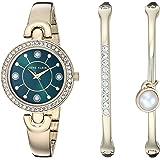 Anne Klein 安妮克莱因 女式 施华洛世奇水晶装饰金色手表手镯套装
