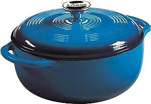 Lodge 洛极 4.5夸脱珐琅铸铁荷兰烤箱,蓝色搪瓷铁荷兰烤箱(加勒比蓝)——EC4D33