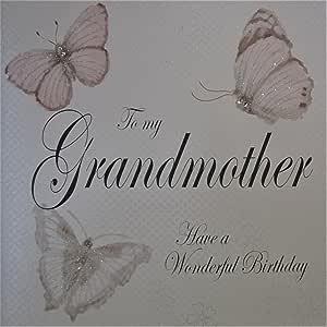 白色棉卡片代码 XPD96-GMOT To My Grandmother Have a Wonderful Birthday 手工贺卡