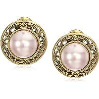 1928 Jewelry 女式金色人造珍珠圆形纽扣夹耳环,白色,均码
