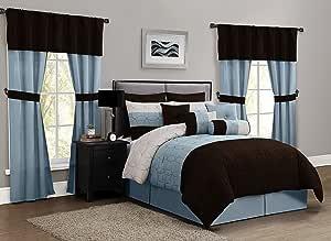 Geneva Home Fashion 20件套 Lenox 棉被套装,大号双人床,灰褐色/蓝色/巧克力色