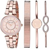 Anne Klein 女士 AK/3286BYST 施华洛世奇水晶 玫瑰金色 勃艮第手表和手链套装