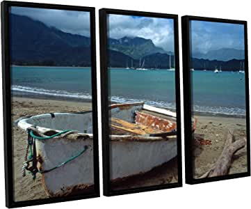 ArtWall Kathy Yates Waiting to Row-In Hanalei Bay 3 件浮动加框油画艺术品 36x54 0yat060c3654f
