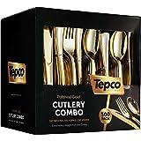 300 金色塑料银色餐具套装 - 塑料金色餐具套装 - 一次性餐具金色 - 100 个金色塑料叉,100 个金色塑料勺,100 个金色餐具刀,大量派对用具