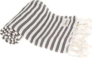 Bersuse * 纯棉 - 马里布土耳其毛巾 - 浴巾 Fouta Peshtemal - OEKO-TEX 认证 - 超柔软、吸水、条纹灰褐色 - 93.98 X 177.8 cm,父色 煤灰色 37X70 Inches MALIBU_PEST_ANTHRACITE