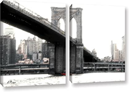 ArtWall Linda Parker's NYC Brooklyn Bridge 2 Piece Gallery-Wrapped Canvas Artwork, 24 by 36""