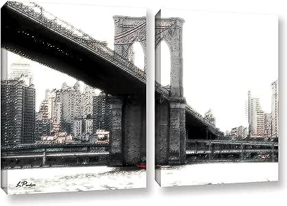 "ArtWall Linda Parker's NYC Brooklyn Bridge 2 Piece Gallery-Wrapped Canvas Artwork, 24 by 36"""