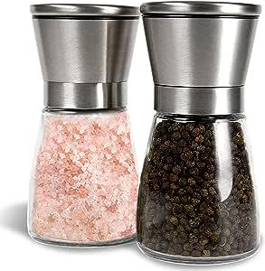 G Kitchen 高级不锈钢盐和胡椒研磨器套装 2 个胡椒研磨机和盐米米研磨机 - 理想赠品香料研磨机 带可调节的煤气,易于填充