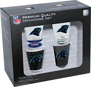 Hunter NFL Carolina Panthers Shot Glass Collector 系列(4 件套),2 盎司,透明