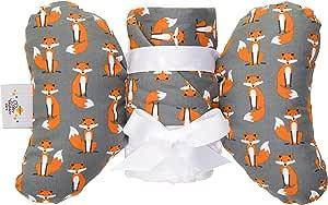 婴儿毯和头部支撑枕套装,适用于新生儿到幼儿,婴儿洗礼、生日或假日礼物套装 - 小象耳朵 Foxy