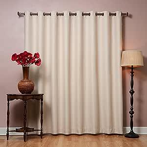 """Best Home 时尚宽环顶部热遮光窗帘 254cm 宽 X 213.4cm 长面板 米色 100""""W X 84""""L - 1 Panel GROM-WIDE-100x84-BEIGE"""