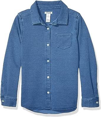 亚马逊品牌 - 斑点斑马女孩幼童和儿童针织牛仔衬衫