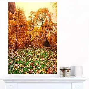 "Designart MT12819-12-28 美丽的秋天带草的大风景光面金属墙壁艺术 绿色 28x36"" - 3 Panels MT12819-3PV"