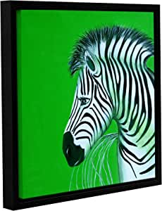 """ArtWall Lindsey Janich 'Zebras Green' Gallery-Wrapped Floater-Framed Canvas Artwork, 18 by 18"""""""