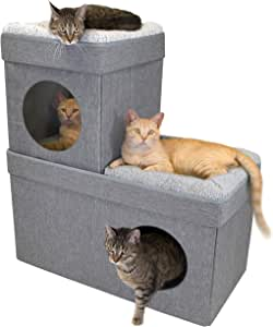 Kitty City 大猫床,可堆叠猫方,户外和室内猫房/猫窝 灰色