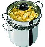 Barazzoni 419048022 - 意大利面锅带篮和盖子,意大利制造,玻璃 18/10 不锈钢,6 公升